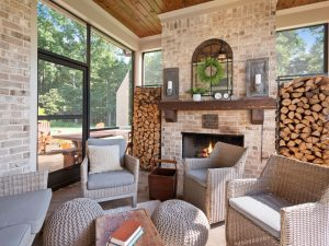 Outdoor Living Space, Outdoor Fireplace, Covered Patio, Wood Inlay Ceiling, Custom Homes North Georgia, Gainesville Georgia Home Builder